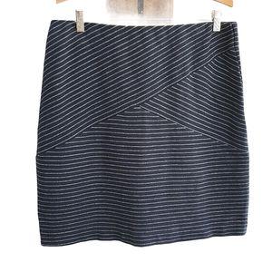 J. Jill Navy Striped Skirt Midi Medium Petite